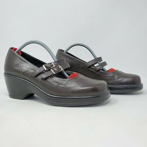 Dansko Babette Brown Mary Jane Leather Clogs